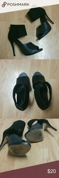 Apt. 9 Banded Heels Worn once, super cute! Just bought the wrong size. Great condition, some scuffs as pictured. Apt. 9 Shoes Heels