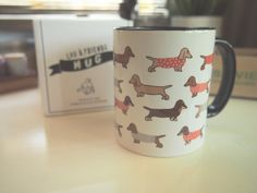 Dachshund ceramic mug available in 11oz size. • White mug with black inside • Dishwasher safe • Microwave safe!   ► SHIPPING We ship to worldwide