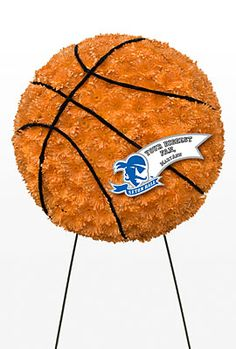 Custom Basketball funeral flower standing piece with Seton Hall Tag