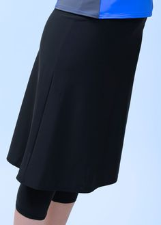 Our black swim skirt with leggings attached is great for more active swim, extra comfort or modesty. The swim skirt is 24  long and made from special swim fabric which makes it non-clingy in water, dry extra fast and is more breathable for warm weather.