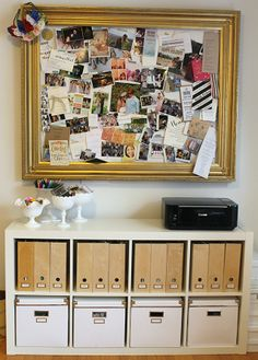 inspiration board and chic storage