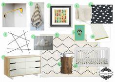 Emerson Grey Designs : Nursery Interior Designer: Vintage Toys {a boys nursery}, cloud crib sheet, vintage hot wheels print, tree stump end table