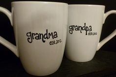 New GRANDMA and GRANDPA Mug SET Est Year Cute by BabyCakeLane, $17.50