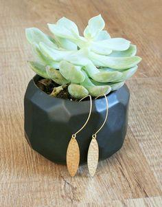 Hammered Brass Oval Earrings