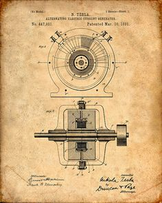 Nikola Tesla's Alternating Electric Current Generator patented March 10, 1891