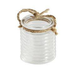 #pintratuin Glazen sfeerlicht met touwgreep, met horizontale ribbels in het glas. €1.99 http://www.intratuin.nl/acties/pintratuin/