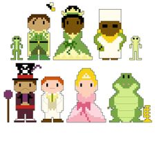 Princess and the Frog Pixel People Character PDF pattern by CheekySharkLabs