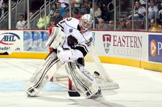 03.10.13 - Grubauer playing the puck.  Photo courtesy of JustSports Photography  He is my new favorite goalie! ⚫