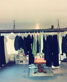STELLA & ALF Old wooden vintage ladders - Hanging Clothes Rail - Studio Lincolnshire, sustainable Fashion  Brand. D.I.Y