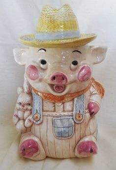 Treasure Craft Farmer Pig Cookie Jar with by KKCollectibleCollage, $22.50 https://www.etsy.com/listing/170124689/treasure-craft-farmer-pig-cookie-jar