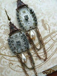 Earrings from watch parts