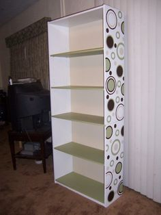 stenciled bookshelf | Last night I finished putting the final touches on the bookcase!