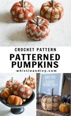 Modern Crochet Pumpkin Patterns - Crochet Pattern - Whistle and Ivy