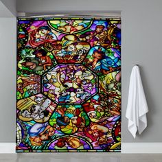 Cheap All disney heroes stained Shower Curtain