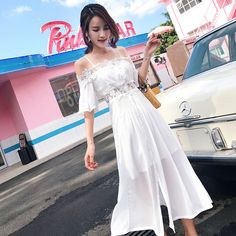 2017 new new arrival temperament was thin chic dress skirt summer hollow word shoulder strapless chiffon harness dress