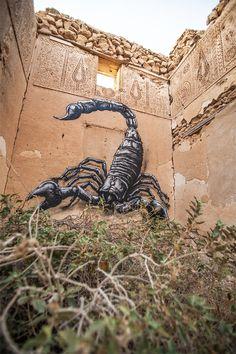 Construções abandonadas na Tunísia viram telas para o artista ROA