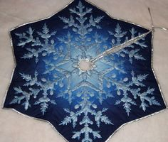 Blue Snowflake Tree Skirt by MoirCountrySewing on Etsy, $69.95