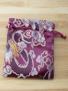 Premium Mala Bag - Burgundy Large Dragons Brocade