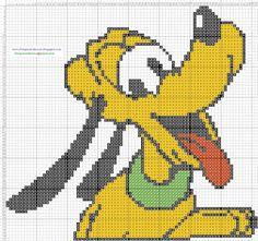 Dibujos Punto de Cruz Gratis: Pluto Disney - Cross Stitch Punto de cruz