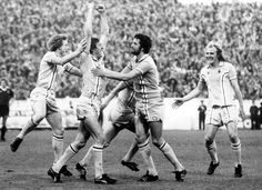 Tommy Hutchison celebrates with Ian Wallace, Mick Ferguson and Terry Yorath after giving City a lead in their survival battle against Bristol City at Highfield Road in Terry Yorath, Coventry City Fc, Bristol City, Vintage Football, Fa Cup, Southampton, Leeds, Nostalgia, Running