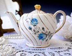Sadler Teapot, Small Two Cup Ivory Swirl Tea Pot with Blue Roses and Gold Gilt, Single Serve, 2 Cup,