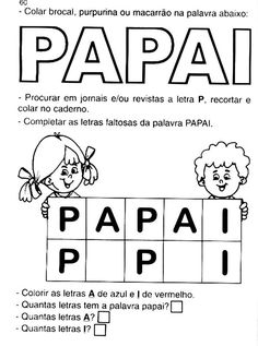 Educação infantil dia dos pais Kids Education, 30, Babys, Infant Activities, Language Activities, Special Education Teacher, Decorated Letters, Index Cards, Classroom