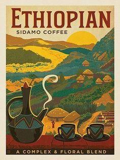 Ethiopian Sidamo Coffee - Ethiopian Coffee is bold, vibrant and… Coffee Logo, Coffee Art, Vintage Travel Posters, Vintage Ads, Coffee Republic, Tatto Old, Illustrator, Image Deco, Pinterest Instagram