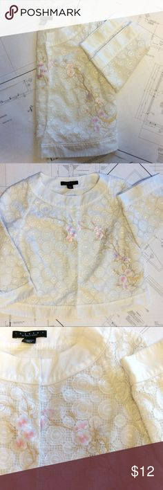 Gorgeous White embroidery Jacket Super cute! Lace fabric with some embroidery on top. Laundry by Shelli Segal Jackets & Coats