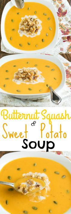 Butternut Squash and Sweet Potato Soup - with very few ingredients this vegan paleo soup is a perfect wholesome dish for those cold and busy nights   kiipfit.com