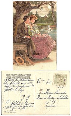 Vintage postcard, 1908 With brillant and relief Vintage Tags, Vintage Labels, Holiday Postcards, Vintage Postcards, Vintage Pictures, Free Pictures, Decoupage Printables, Vintage Couples, Printable Pictures