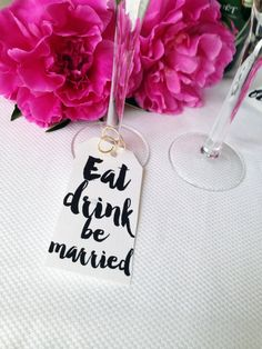 Eat drink be married wine glass tag favor tag by Papierscharmants