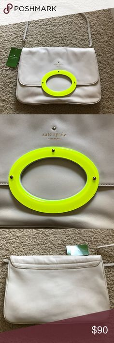 Kate Spade Cream and Neon Yellow Purse NWT Kate Spade Cream-Colored Leather with Neon Yellow detail and yellow gold hardware. Over the shoulder strap. NWT. Never worn. Great condition. Comes with dust bag. Perfect Spring/Summer statement purse. Add a pop of color to your wardrobe! Feel free to make an offer! kate spade Bags