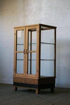 【古い楢材観音扉ガラスケース】アンティークショーケース什器棚 Antique glass case ¥55000円 〆03月29日