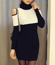 Stylish Turtleneck Long Sleeve Hollow Out Color Block Knitted Dress For Women