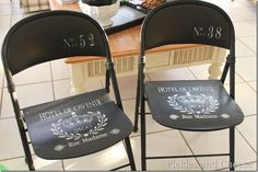 painted (chalk paint) folding chairs