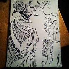 Alphonse Mucha art with Polynesian tribal