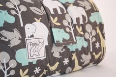 Padded Play Mat - Zoology in Blue/Gray
