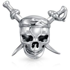 Bling Jewelry Pirate Skull Crossbones Bead Charms Sterling Silver |... (26 CAD) ❤ liked on Polyvore featuring jewelry, pendants, grey, sterling silver skull jewelry, beaded jewelry, charm pendants, bead charms and sterling silver graduation charms