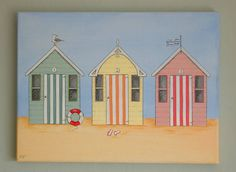 Wall art Beach Cabana, Seaside Beach, Seaside Theme, Beach Huts Art, Beach Art, Whitstable Beach, Boat Illustration, Hut House, Watercolor Beginner