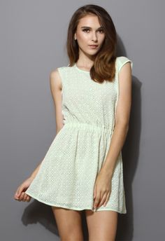 Mint Green Full Eyelet Dress - The official skipping to end world hunger uniform