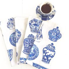 """Michelle Grayson on Instagram: """"Once again this has been one of the more popular tea towel designs. I have about five of this particular design left if you want to grab…"""" White Art, Blue And White, Chanel Art, White Prints, Ginger Jars, Chinoiserie, Tea Towels, Popular, Gallery"""