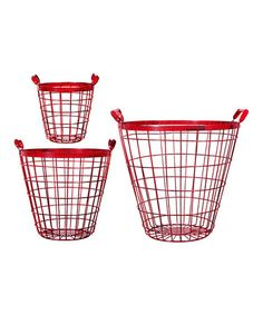 Love this Red Metal Basket Set by Home Essentials and Beyond on #zulily! #zulilyfinds