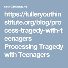 Processing Tragedy with Teenagers.   We can find ourselves stumbling for words when tragedy strikes. Those of us who follow Jesus find ourselves asking very serious questions. How could this happen? Can God still be good?  Who can we trust? How can we ever feel safe? We can struggle for adequate words to respond to the complexities, but here are a few resources for helping young people process trauma and tragedy, whether experienced locally or through the media.