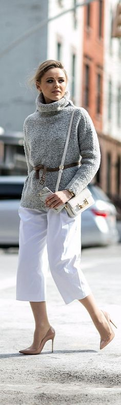 Kristina Bazan in a turtleneck: NYFW street style