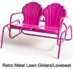 Retro metal lawn furniture and coolers from this fabulous company...reproduction pieces, made in America, and incredibly affordable.  retrometalchairs.com