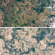 These two images show the Wabash and Ohio Rivers near Evansville, Indiana, while flooded (May 3, 2011, top image) and after the waters had receded (June 4, 2011, bottom image). Landsat 5 took these natural-color images with its Thematic Mapper.