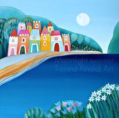 Moonlight summer - Tiziana Rinaldi Art - #village #landscape #sea #blue #painting #art #moonlight