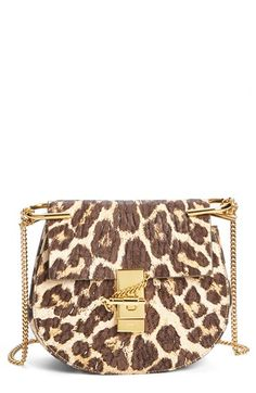 82a606e56a35 Chloé  Drew  Leopard Print Leather Shoulder Bag available at  Nordstrom  Leather Saddle Bags