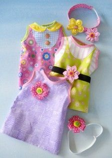 3 styles Doll Dress & Hair Accessories for 18 Inch Dollls