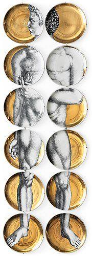 A set of twelve Piero Fornasetti 'Adamo' porcelain plates, Milan, Italy. Diameter 26,5 cm.. - Contemporary, Stockholm 564 – Bukowskis